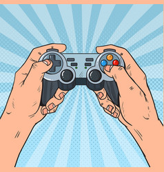 pop art man holding gamepad console vector image