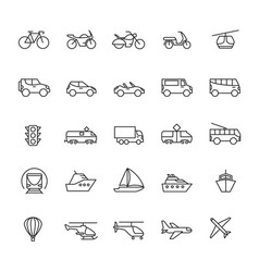 Public passenger transport line icons cars and vector
