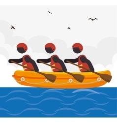 Rafting kayaking team design vector