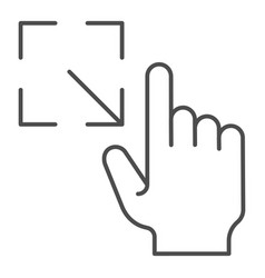 Resize gesture thin line icon enlarge touch vector