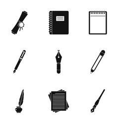 retro pen type icon set simple style vector image