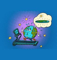 Sad fat earth on the treadmill dream to lose vector