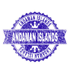 scratched textured andaman islands stamp seal with vector image