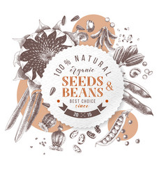 seeds and beans round emblem over hand drawn vector image