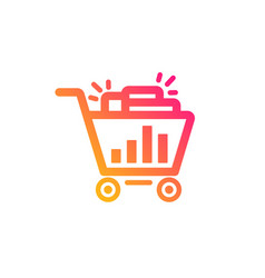 Seo shopping cart icon search engine optimization vector