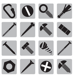 Set icons with bolts and screws vector