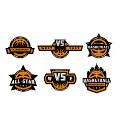 set of basketball logos emblems labels vector image