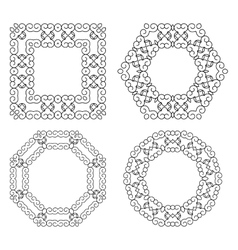 Set of decorative frames and borders Mono line vector