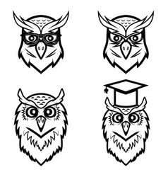 set of the owl heads isolated on white background vector image