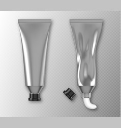 silver tube package with hand cream or paint vector image