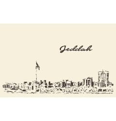 Sketch Jeddah skyline drawn vector