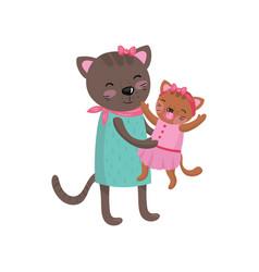 Smiling mother cat holding her little kitten vector