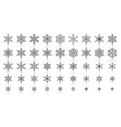 Snowflake simple black line icons set vector