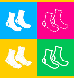 socks sign four styles of icon on four color vector image