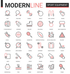 sport fitness equipment thin red black line icon vector image