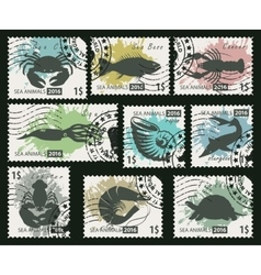Stamps on theme sea life animals vector
