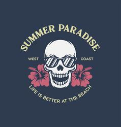 Summer paradise fancy skull in sunglasses vector