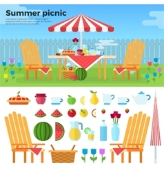 Summer picnic and icons of foods vector