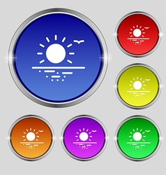 Sunset icon sign Round symbol on bright colourful vector