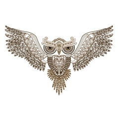 Tattoo owl with spread wings vector