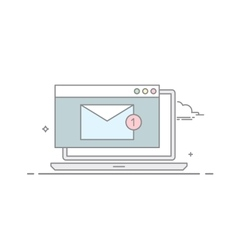 The e-mail on a laptop or nitebook in a linear vector image