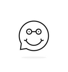 Thin line nerdy emoji speech bubble logo vector