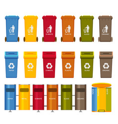 Trash containers colorful icons set vector