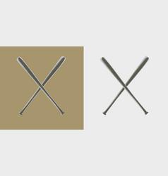 Two baseball bats icon or sign vector