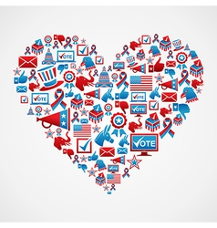 Us elections icons heart shape vector