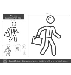 Walking businessman line icon vector