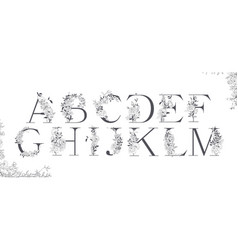 wedding alphabet initials with botanical elements vector image