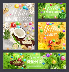 White green yellow vegetarian food of color diet vector