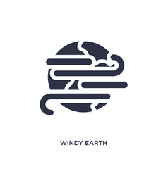Windy earth icon on white background simple vector