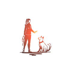 woman pet dog animal training concept vector image