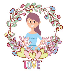 young woman floral frame cartoon vector image