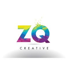 Zq z q colorful letter origami triangles design vector