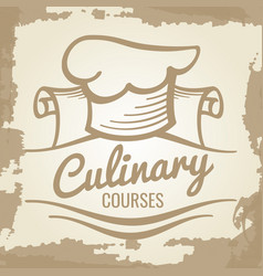 culinary courses grunge emblem or logo design vector image vector image