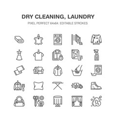 Dry cleaning laundry flat line icons launderette vector