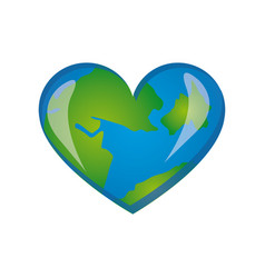 earth planet heart icon vector image vector image