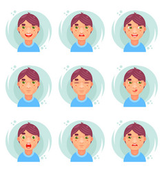 funny emotions cute boy avatar icons set flat vector image