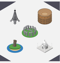 Isometric cities set of coliseum india mosque vector