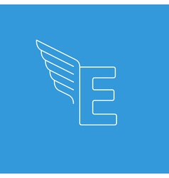 Letter E logo with wings in thin lines vector image vector image