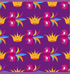 mardi gras festival mask and crow wrapping paper vector image