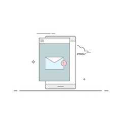 The e-mail on mobile phone or tablet in a linear vector image vector image