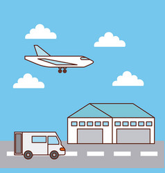 warehouse delivery airplane and truck transport vector image vector image