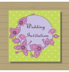 Wedding invitation on wooden background vector image