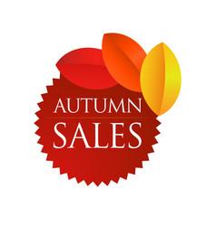 autumn sales - brown round emblem vector image vector image