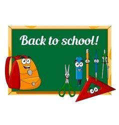 Chalkboard with cartoon school supplies vector image