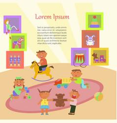 children playing in kindergarten vector image