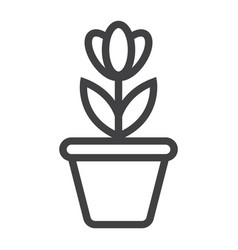 Flower in pot line icon plant and decor vector